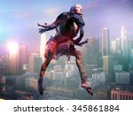woman jump over the city  ...   Shutterstock . vector #345861884