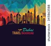 dubai city skyline detailed... | Shutterstock .eps vector #345863588