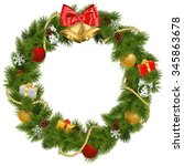 vector christmas wreath with... | Shutterstock .eps vector #345863678