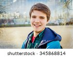 smiling young student relaxing... | Shutterstock . vector #345868814