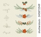 winter hand drawn plant borders ...   Shutterstock .eps vector #345872549