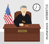 male judge in court on hearing... | Shutterstock .eps vector #345885713
