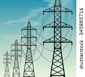 high voltage overhead power... | Shutterstock .eps vector #345885716