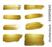 gold paint smear stroke stain... | Shutterstock . vector #345890840