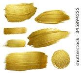 gold paint smear stroke stain... | Shutterstock . vector #345894233