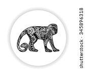 black monkey in white circle....   Shutterstock .eps vector #345896318