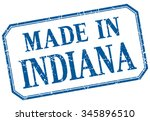 indiana   made in blue vintage... | Shutterstock .eps vector #345896510