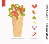 mexican or arabic fast food for ... | Shutterstock .eps vector #345901220