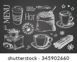 coffee collection on chalkboard | Shutterstock .eps vector #345902660