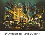 Night Scene Cityscape Abstract...