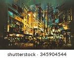 night scene cityscape abstract...   Shutterstock . vector #345904544