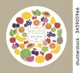 fruits set on white circle... | Shutterstock .eps vector #345905966