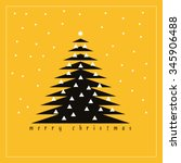 a christmas tree with candles... | Shutterstock .eps vector #345906488