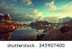 snow in reine village  lofoten... | Shutterstock . vector #345907400