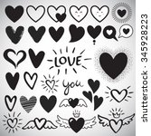 big set of various heart... | Shutterstock .eps vector #345928223