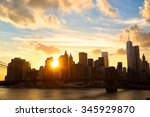 manhattan skyline with brooklyn ... | Shutterstock . vector #345929870