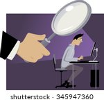 big brother is watching. giant... | Shutterstock .eps vector #345947360