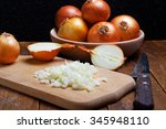 chopped onions on rustic