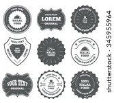 vintage emblems  labels. halal... | Shutterstock . vector #345955964
