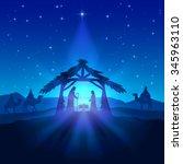 nativity scene  christmas star... | Shutterstock . vector #345963110