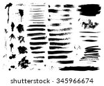 set of ink hand drawn brush... | Shutterstock .eps vector #345966674