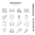 vector modern thin line flat... | Shutterstock .eps vector #345969884