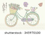 pastel color vintage bicycle   | Shutterstock .eps vector #345970100
