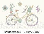 pastel color vintage bicycle   | Shutterstock .eps vector #345970109
