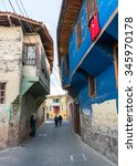 Small photo of Manisa, Turkey - November 08, 2014: Wooden based Ottoman style architecture on a street in Kula Town of Manisa, Turkey on November 08, 2014.