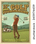 vintage golf poster with a golf ... | Shutterstock .eps vector #345974459