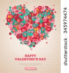valentine banner with flat... | Shutterstock .eps vector #345974474