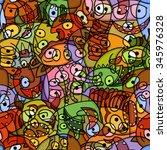funny monsters seamless vector... | Shutterstock .eps vector #345976328