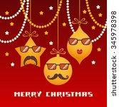 comic christmas card. cute...   Shutterstock . vector #345978398