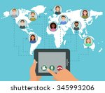 video conference call concept...   Shutterstock . vector #345993206