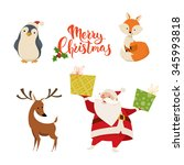 set of cute christmas... | Shutterstock .eps vector #345993818