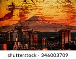 city of seattle on grunge... | Shutterstock . vector #346003709