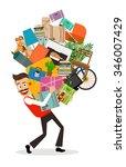 man moving illustration. happy... | Shutterstock .eps vector #346007429