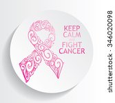 pink ribbon for breast cancer... | Shutterstock .eps vector #346020098