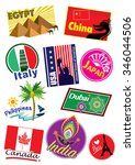 world country travel landmark... | Shutterstock .eps vector #346044506