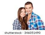 happy cute couple in love... | Shutterstock . vector #346051490