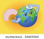 the cartoon earth wiping the... | Shutterstock .eps vector #34605364