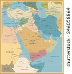 middle east and west asia map... | Shutterstock .eps vector #346058864