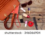 things from open lady handbag.... | Shutterstock . vector #346066904