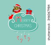 owl in santa hat  giftbox ... | Shutterstock .eps vector #346067984