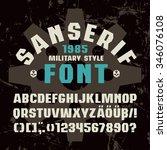 sanserif  font in military...   Shutterstock .eps vector #346076108