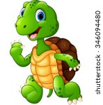 cute green waving turtle | Shutterstock .eps vector #346094480