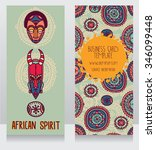 two cards in ethnic african... | Shutterstock .eps vector #346099448