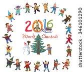 bright cartoon vector christmas ... | Shutterstock .eps vector #346101290