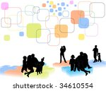 illustration of families on the ... | Shutterstock .eps vector #34610554