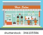 hair salon building and... | Shutterstock .eps vector #346105586